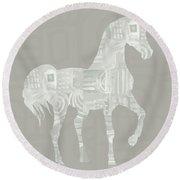 White Horse 1- Art By Linda Woods Round Beach Towel