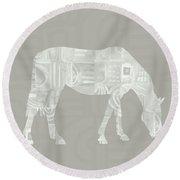 White Horse 2- Art By Linda Woods Round Beach Towel