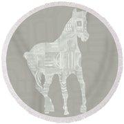 White Horse 3- Art By Linda Woods Round Beach Towel