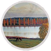 White Horse Black Horse Round Beach Towel