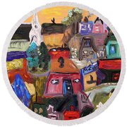 Round Beach Towel featuring the painting White Horse In The Village Field by Mary Carol Williams