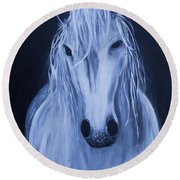 Round Beach Towel featuring the painting White Horse by Stacey Zimmerman