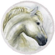 White Horse Watercolor Round Beach Towel