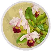 White House Orchid 1892 Round Beach Towel