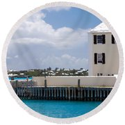 White House Round Beach Towel by Richard Ortolano