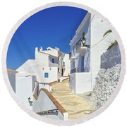 White Houses And Blue Sky Of Andalusia Round Beach Towel