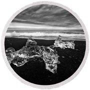 White Ice Black Beach - Fascinating Iceland Round Beach Towel