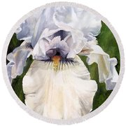 Round Beach Towel featuring the painting White Iris by Laurie Rohner