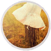 White Knitted Hat On Farm Fence Round Beach Towel