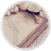 Round Beach Towel featuring the photograph White Lace And Promises by Rachel Mirror