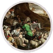 Round Beach Towel featuring the photograph White Lambs by Munir Alawi
