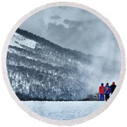 White Landscape In The Frozen Paradise In The Argentine Patagonia Round Beach Towel