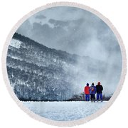 White Landscape In The Frozen Paradise Round Beach Towel