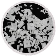 White Lego Abstract Round Beach Towel