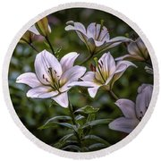 Round Beach Towel featuring the photograph White Lilies #g5 by Leif Sohlman