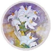 White Lilies Round Beach Towel by Jasna Dragun