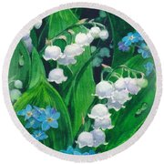 White Lilies Of The Valley Round Beach Towel