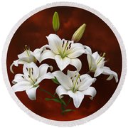 White Lilies On Red Round Beach Towel