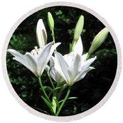 White Lilies, West Virginia Round Beach Towel by Sandy McIntire