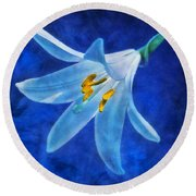 Round Beach Towel featuring the digital art White Lilly by Ian Mitchell