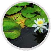 White Lily And Rippled Water Round Beach Towel