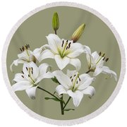 White Lilies Illustration Round Beach Towel