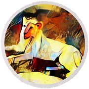 Round Beach Towel featuring the photograph White Lioness by Pennie  McCracken
