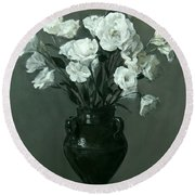 White Lisianthus In Green Pottery Footed Vase Round Beach Towel