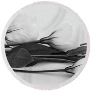 White Lisianthus  Round Beach Towel