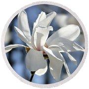 White Magnolia  Round Beach Towel