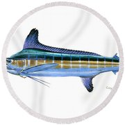 White Marlin Round Beach Towel by Carey Chen