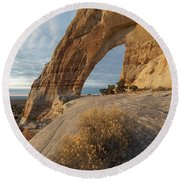 Round Beach Towel featuring the photograph White Mesa Arch by Dustin LeFevre