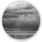 Round Beach Towel featuring the photograph White Mountain by Lou Novick