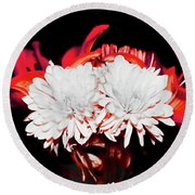 White Mums And Red Lilies Round Beach Towel