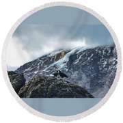 Round Beach Towel featuring the photograph White-necked Raven Pair Under Kilimanjaro Summit Glacier by Jeff at JSJ Photography