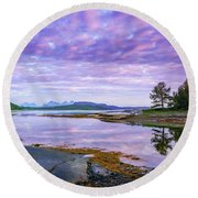 White Night In Nordkilpollen Cove Round Beach Towel