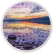 White Night Sunset On A Swedish Lake Round Beach Towel