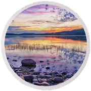 Round Beach Towel featuring the photograph White Night Sunset On A Swedish Lake by Dmytro Korol