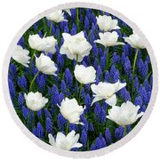 White On Blue Round Beach Towel