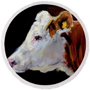 White On Brown Cow Round Beach Towel