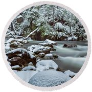 White On Green Round Beach Towel by Mark Lucey
