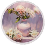 Round Beach Towel featuring the painting White On White by Steve Henderson