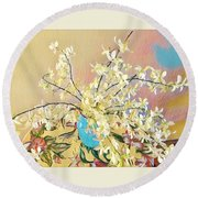 White Orchid Bouquet Pink/blue Round Beach Towel