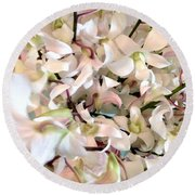 White Orchid Cluster Round Beach Towel