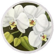 White Orchid Round Beach Towel by Inese Poga