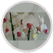 White Orchid Mothers Day Round Beach Towel by Marsha Heiken