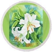 White Oriental Lilies Round Beach Towel