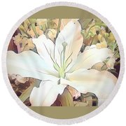 White Painted Lily Round Beach Towel