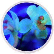 Round Beach Towel featuring the digital art White Painted Orchids by Darleen Stry