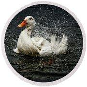 White Pekin Duck Round Beach Towel